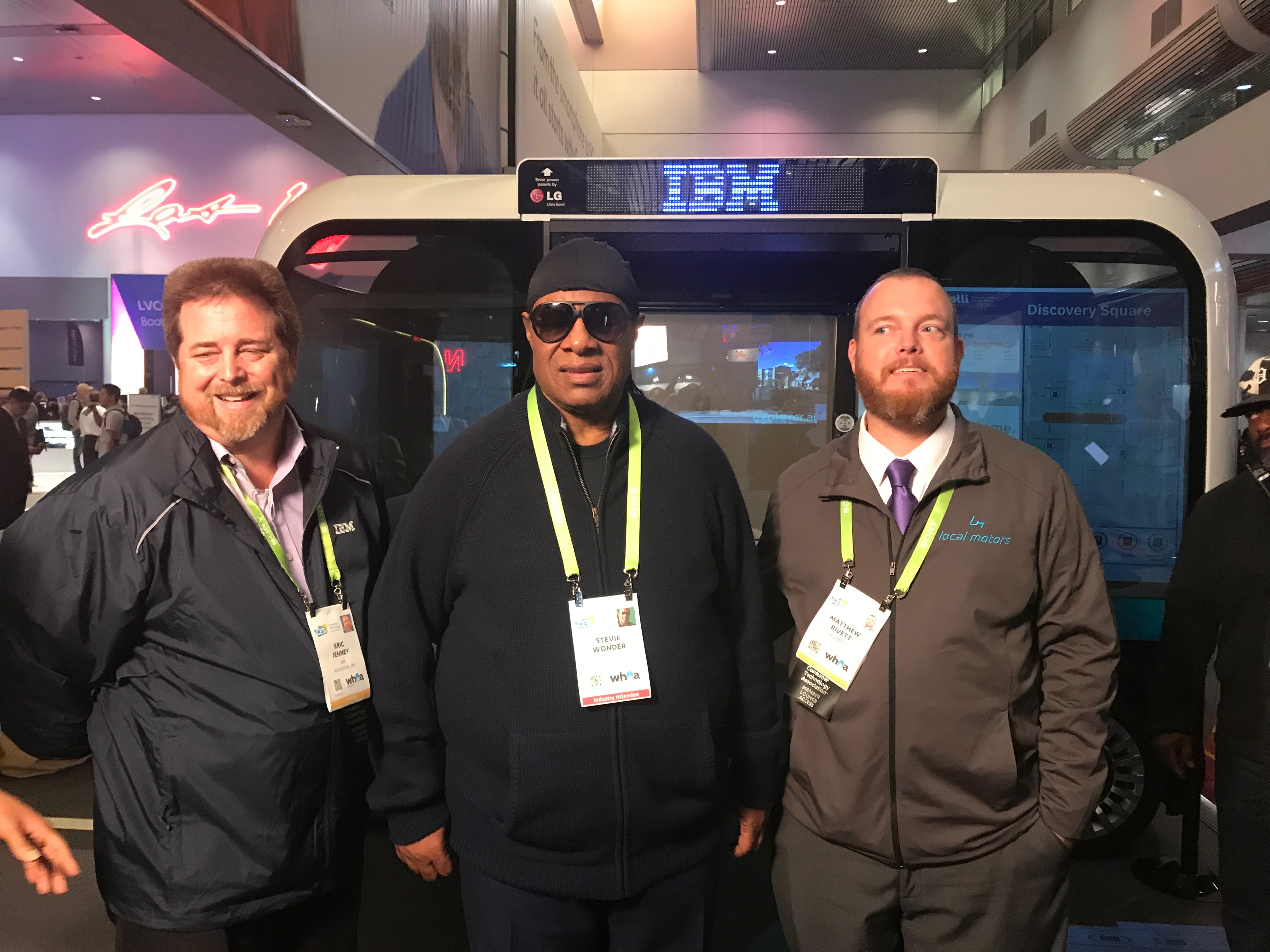 Musical legend Stevie Wonder, made a surprise stop at the #AccessibleOlli booth at CES 2018.