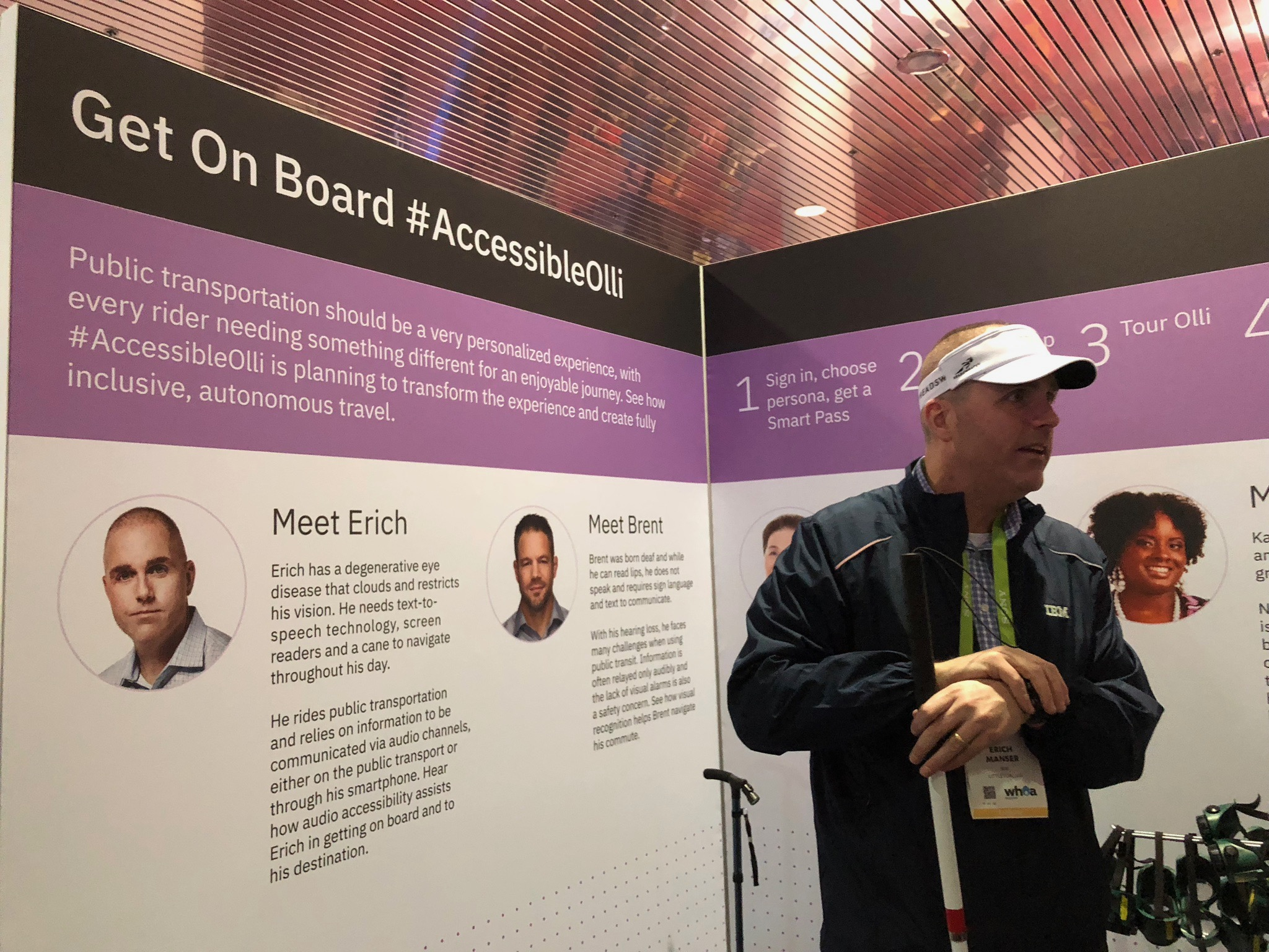 Erich Manser, part of the IBM Research team, helped immerse visitors in the #AccessibleOlli project.