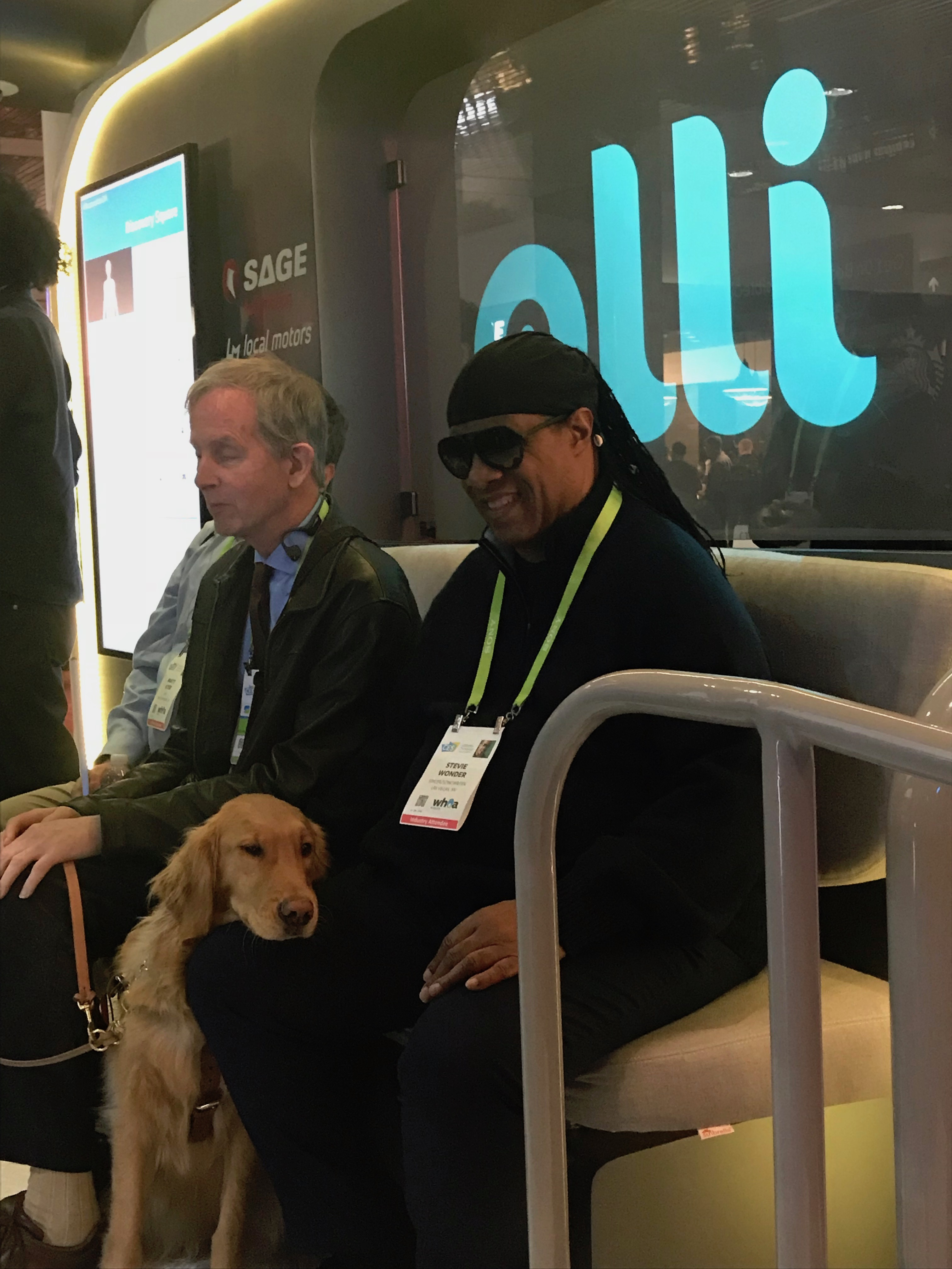 Musical legend Stevie Wonder made a surprise stop at the #AccessibleOlli booth at CES 2018.