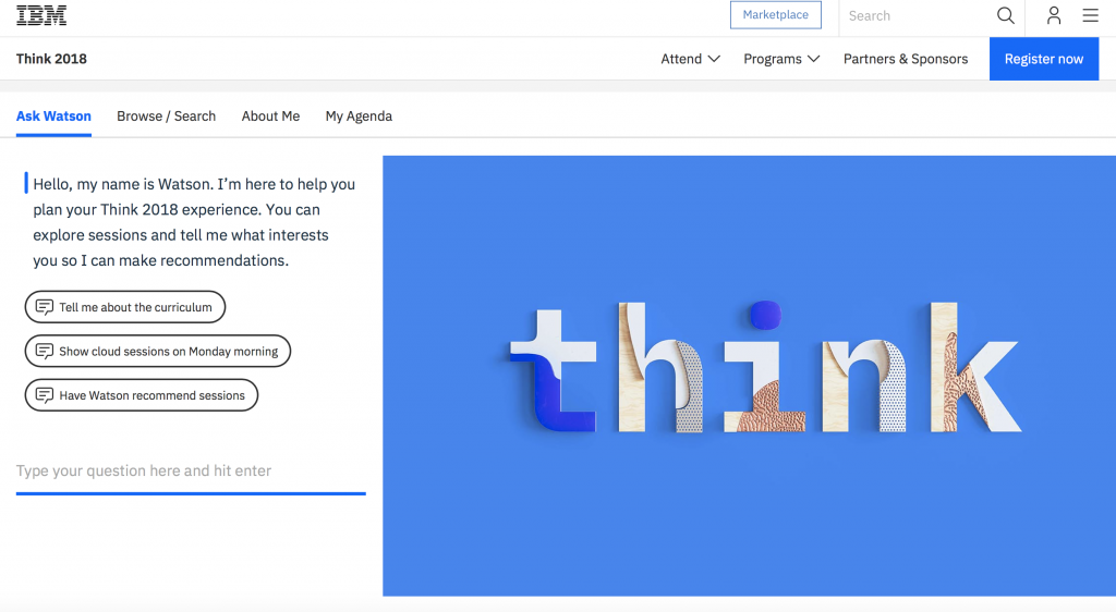 Use Watson to create your own personalized agenda at Think.