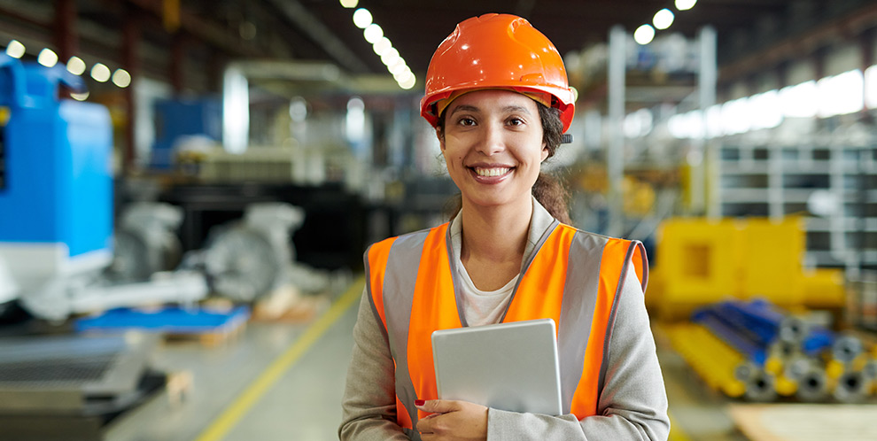 Female technician with mobile device