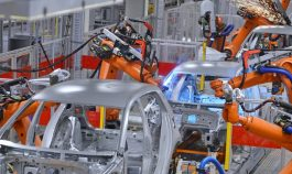 Assembly line in an auto plant