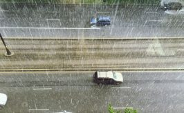 Overhead view of car driving in very rain conditions