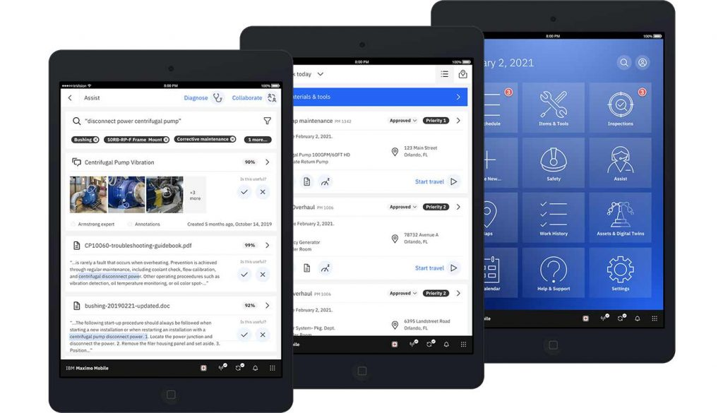 Maximo Mobile screen shots in displayed in three devices