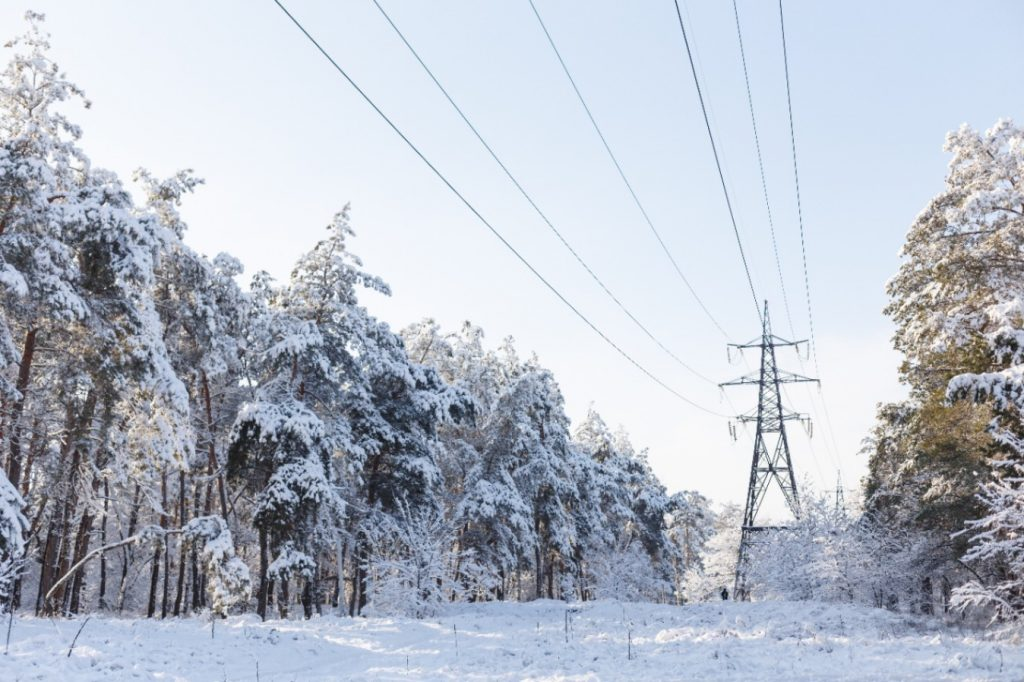 Electricity tower next to frozen trees
