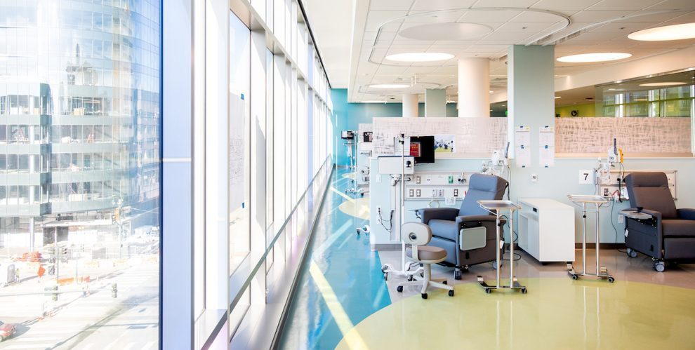 Interior shot of chair and medical equipment for chemotherapy