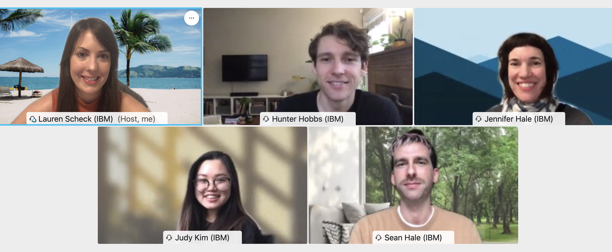 The UX Design apprentices on a virtual call