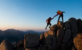 two people on mountain