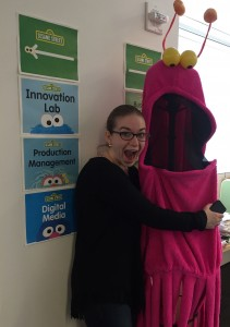Allison Allain visiting the Sesame Workshop