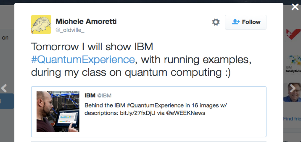 Screen shot of tweet from Prof Amoretti
