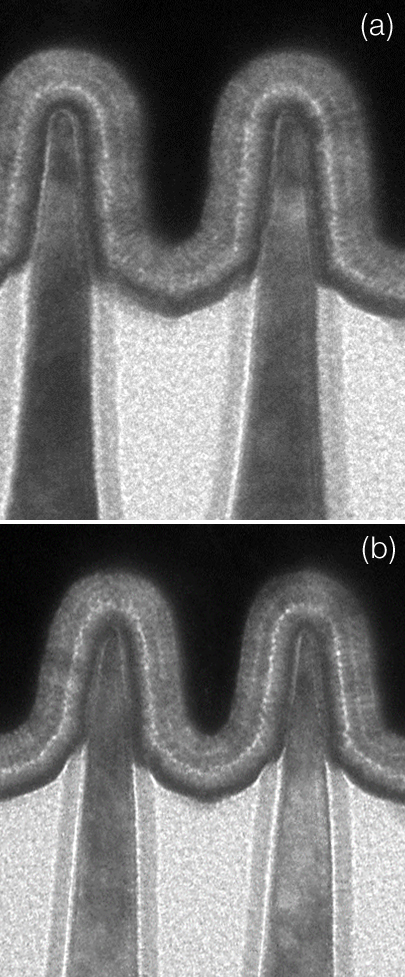 Symmetric Si FinFET (a) and SiGe FinFET (b) profiles at 10nm made by IBM Research at SUNY Polytechnic's NanoTech Complex in Albany, NY. This illustrate that the profile integrity is good for SiGe FIN.