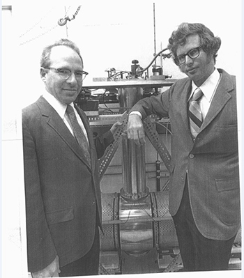 IBM scientists Dr. Richard (Dick) L. Garwin and James Levine with a gravitational wave detector built at IBM Research in 1972