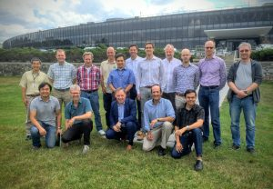 Group photo of members of the IBM Research & Ericsson teams outside the IBM T. J. Watson Research Center, NY. This group jointly developed a millimeterWave phased array module designed for 5G base station communications
