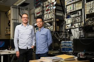 IBM nanoscientists Christopher Lutz (left) and Kai Yang (right) at IBM Research – Almaden in San Jose, Calif.