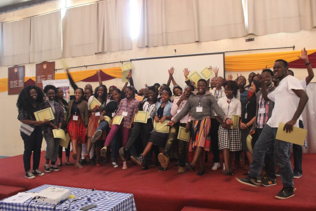 The finalists from the 2017 Innovate Kenya program are all in secondary schools, or are recent graduates of secondary schools from across the country. The 32 finalists just completed a 1-week innovation bootcamp where they came up with 12 prototypes of solutions to community problems. At the event the students pitched their prototypes to the judges, and an audience of 60-70 guests.