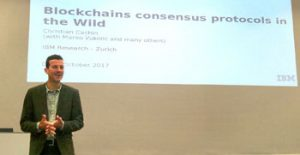 Contributing to the discussion: Christian Cachin at the International Symposium on Distributed Computing.