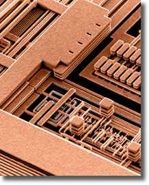 Scanning electron micrograph of a portion of a CMOS 7S microprocessor with the insulator removed for clarity.