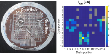 "Integrated flexible pressure sensor with an active matrix of CNT TFTs. Pictured: Current mapping of a flexible CNT pressure sensor resembles the shape of ""CNT"" word stamps. (Figure 4b in ""Large-area high-performance flexible pressure sensor with carbon nanotube active matrix for electronic skin"", published on Nano Letters.)"