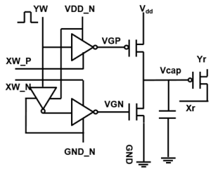 Schematic of a capacitor-based cross-point array