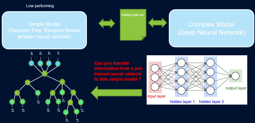 Bridging the gap between interpretability and performance by transferring information from a high-performing model to a simpler, interpretable decision tree
