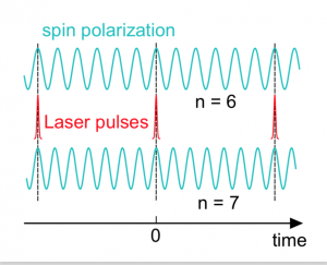 Principle of spin locking: A periodic laser pulse train locks the spin precession frequency to an integer multiple n of the laser repetition rate. In the example, the spins precess either exactly n = 6 or n = 7 times between two subsequent laser pulses.