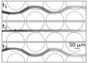 Fig. 2: By changing the potential distribution over an array of electrodes, streamlines in the flow can be dynamically manipulated.