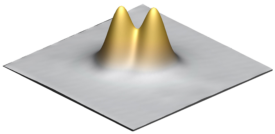 Figure 2. An image of two titanium atoms positioned just 1 nanometer apart and used to perform complex quantum operations.