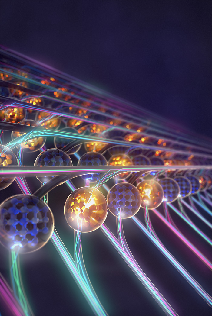 Artistic depiction of the photonic tensor core with each element representing a photonic memory unit performing in-memory computing using light. Different colors show wavelength division multiplexing.. Credit: IBM Research