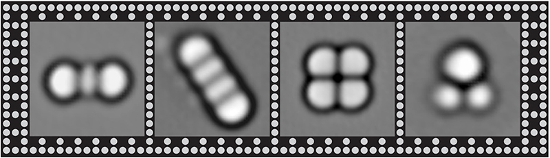 Precise arrangements of three or four titanium atoms arranged to show different magnetic properties. The grid of dots shows the lattice of atoms in the underlying surface, a thin film of magnesium oxide.