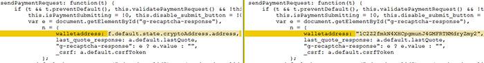 図10:TrickBotによる変更の前と後のsendPaymentRequest