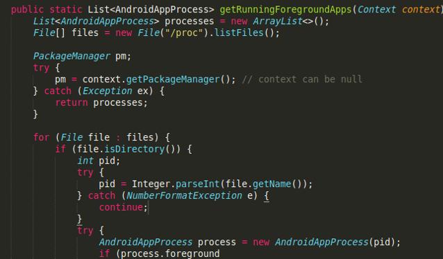 図 10: /proc  からのアクティブ・プロセスをすべてリスト