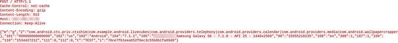 図 6: ExoBot はデバイス情報を含む要求を C2 サーバーに送信する
