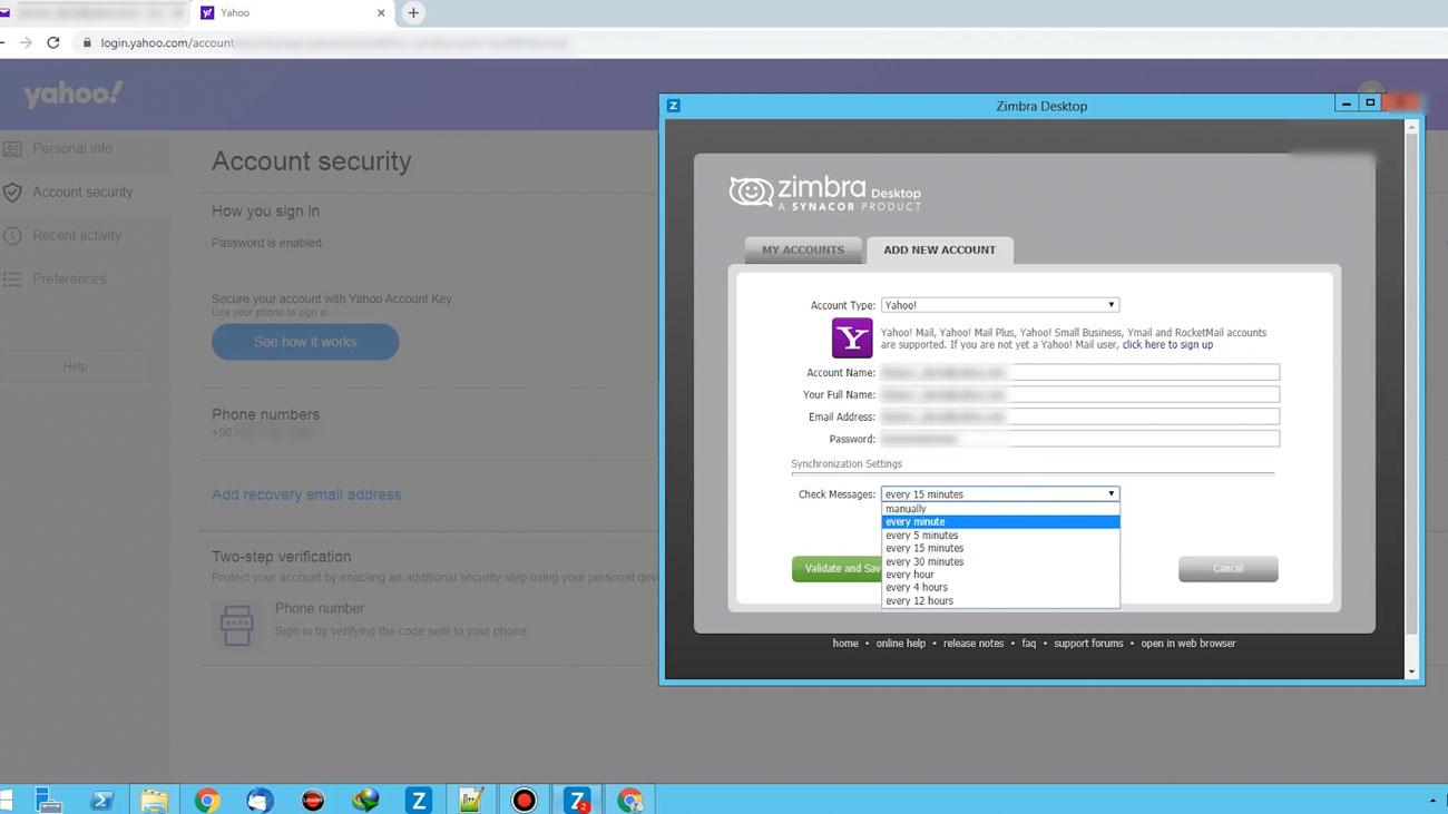 図2: ペルソナ・アカウントをZimbraに同期しているITG18サイバー犯罪者の画像キャプチャー(提供: IBM Security X-Force)
