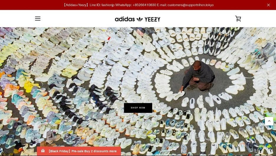 図2:Adidas YeezyのなりすましWebサイトの画像 (出展:X-Force)