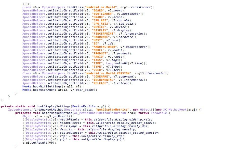 図2:エミュレーター仕様の偽装を自動化するために攻撃者が独自開発したアプリケーションで利用されているコードからの抜粋 (情報提供元: IBM Trusteer)