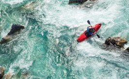 Kayaker navigating the rapids