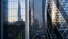 Abstract of modern office buildings in London financial district
