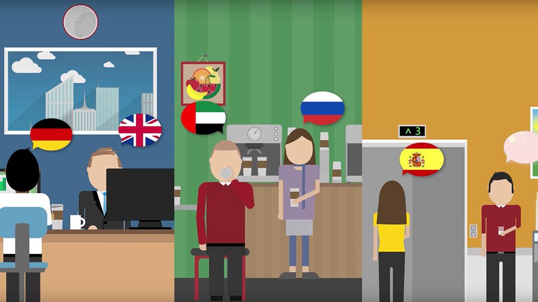 各国の人がそれぞれの国の言語でやり取りをしている様子