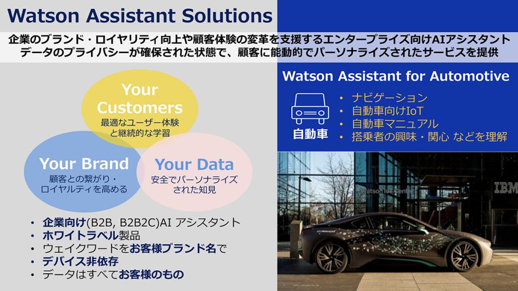 Watson Assistant Solutionsは、企業のブランド・ロイヤリティ向上や顧客体験の変革を支援するエンタープライズ向けAIアシスタントです。 データのプライバシーが確保された状態で、顧客に能動的でパーソナライズされたサービスを提供します。 自動車向けのサービスでは、ナビゲーションや自動車マニュアルの理解と案内、搭乗者の興味関心を理解したプロアクティブな提案を行います。