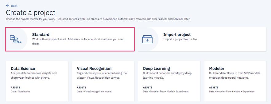 Watson Studioにログインし、Create Project -> Standard を選択します。