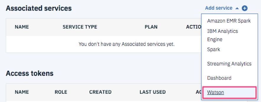 プロジェクトのSetting タブを選択し、Associated services セクションの Add service からWatsonを選択します。