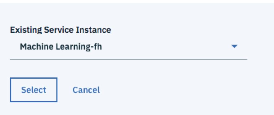 Machine LearningタイルのAddをクリックし、作成済みのインスタンスを選択します。