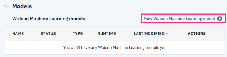 Assetsタブを選択し、Watson Machine Learning models セクションのNew Watson Machine Learning modelを選択します。