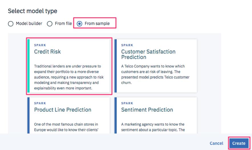 Select model typeでFrom sampleを選択し、リストされるサンプルからCredit Riskモデルを作成します。