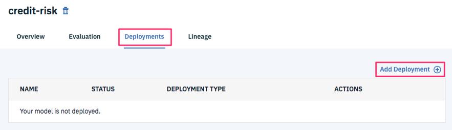 Deploymentsタブを選択し、Add Deploymentを選択します。