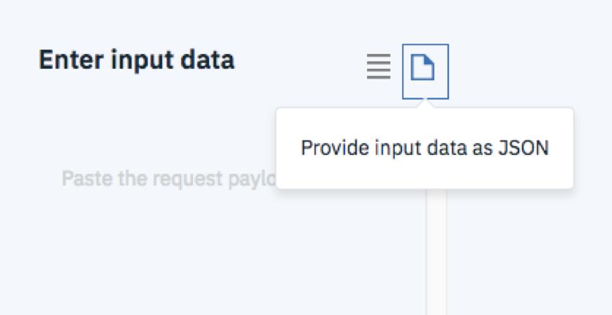 稼働しているモデルはブラウザ上でテストすることができます。デプロイメントの名前(credit-risk-deploy)をクリックし、Testタブを選択すると、Enter input dataに入力した値にもとづく予測値を取得することができます。ここではProvide input data as JSONを選択し、JSONフォーマットのデータでテストしてみます。