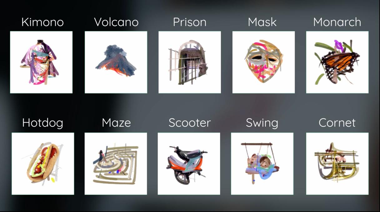 1つのテーマを入力した際にAIが生成したストロークによって構成された画像