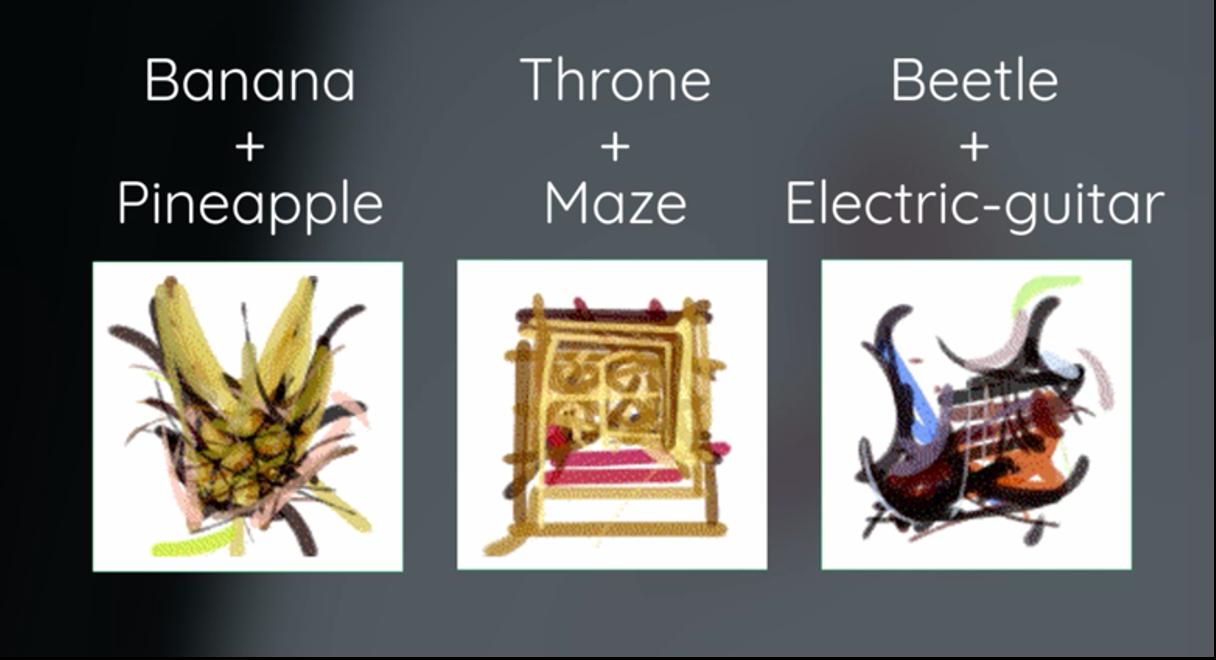 2つのテーマを入力した際にAIが生成したストロークによって構成された画像
