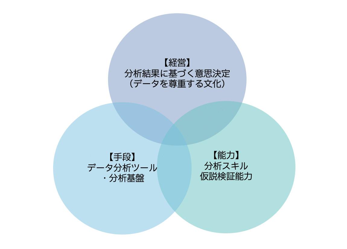【経営】分析結果に基づく意思決定(データを尊重する文化),【手段】データ分析ツール・分析基盤,【能力】分析スキル仮説検証能力